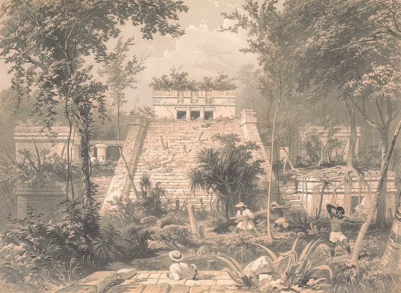 Views of Ancient Monuments in Central America - Castle at Tuloom (1844)