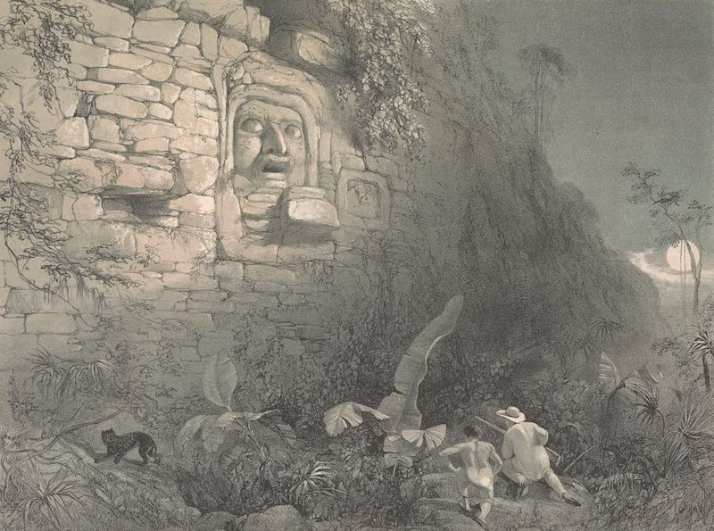 Views of Ancient Monuments in Central America - Colossal Head at Izamal (1844)