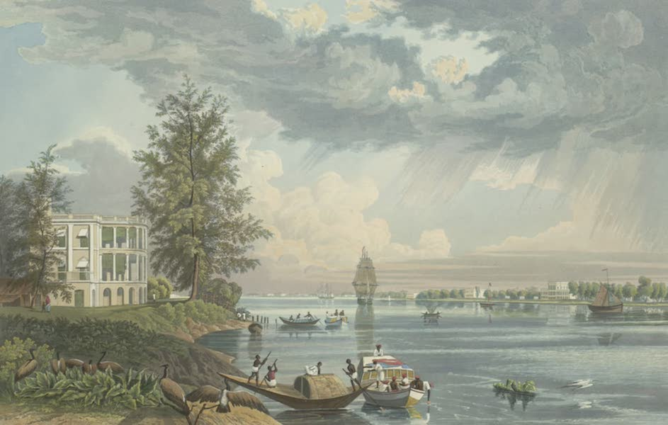 Views of Calcutta and It's Environs - A View of the Botanic Garden House and Reach (1826)