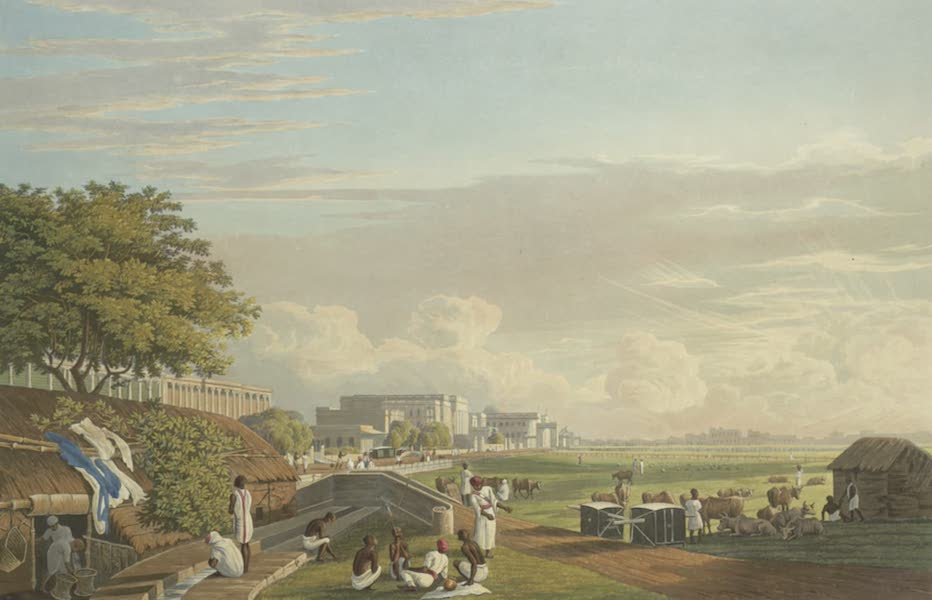 Views of Calcutta and It's Environs - A View of Esplanade Row, from the Reservoir at Chandpal Ghat (1826)