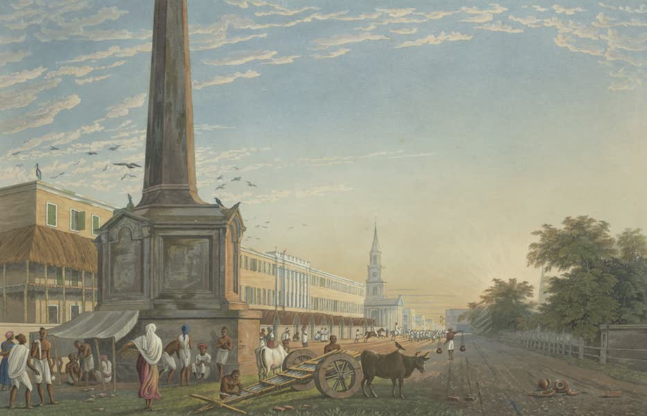 Views of Calcutta and It's Environs - A View of Writers Buildings, from the Monument at the West End (1826)