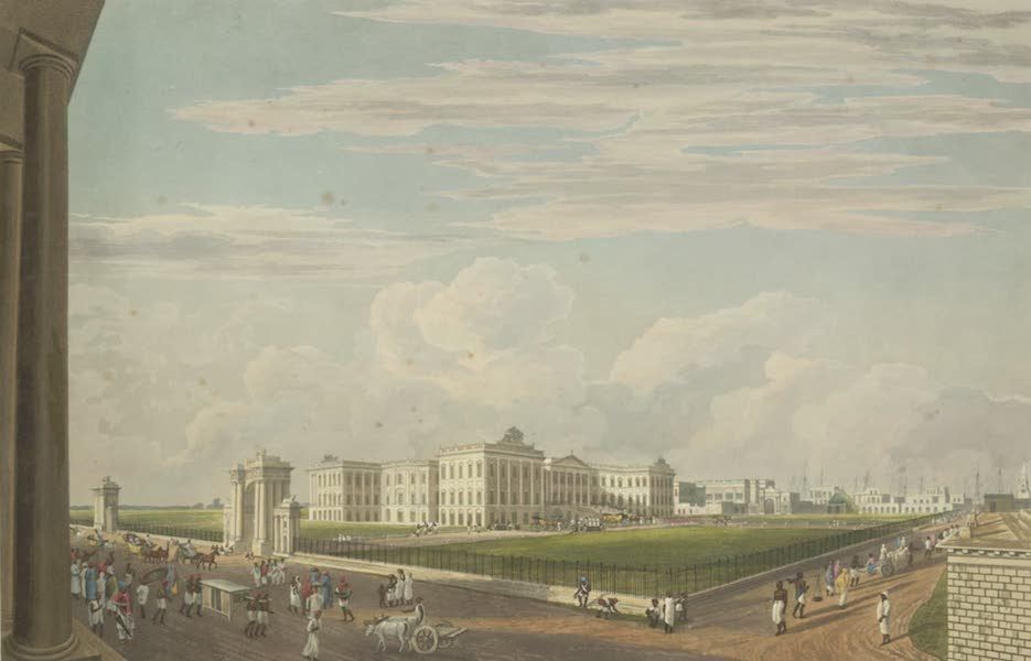 Views of Calcutta and It's Environs - A View of Government House, from the Court House Street, taken from the House of Johnson & Co. (1826)