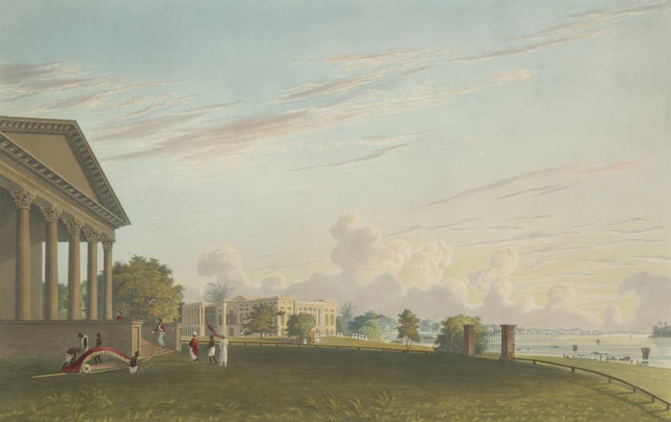 Views of Calcutta and It's Environs - A View of Barrackpore House, with the Reach of the River (1826)
