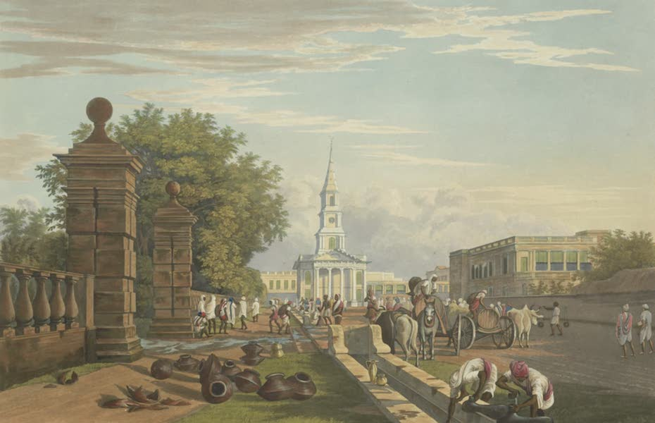 Views of Calcutta and It's Environs - A View of the Scotch Church, from the Gate of Tank Square (1826)