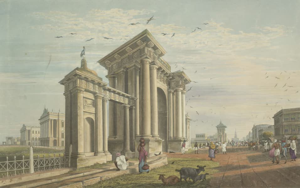 Views of Calcutta and It's Environs - View of Court House Street, from near the South Eastern Gate of Government House (1826)