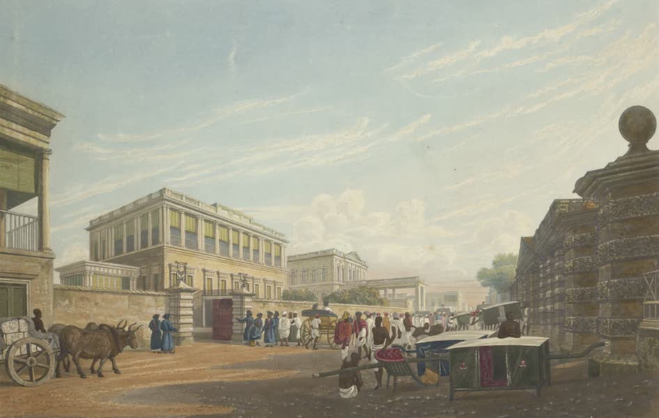 Views of Calcutta and It's Environs - A View of the Loll Bazaar, from opposite the House of John Palmer Esq. (1826)