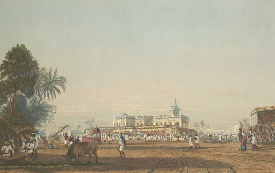 Views of Calcutta and It's Environs - View of the Loll Bazaar and Portuguese Chapel, from the Circular Road (1826)