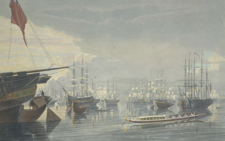 Views of Calcutta and It's Environs - A View of the River, Shipping and Town, from near Smiths Dock (1826)