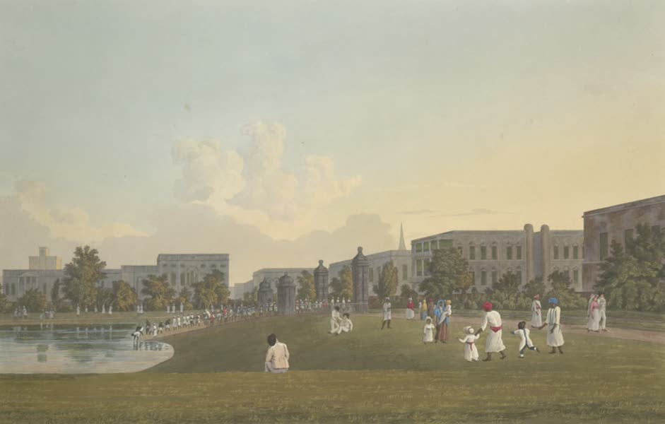 Views of Calcutta and It's Environs - A View of the West Side of Tank Square (1826)