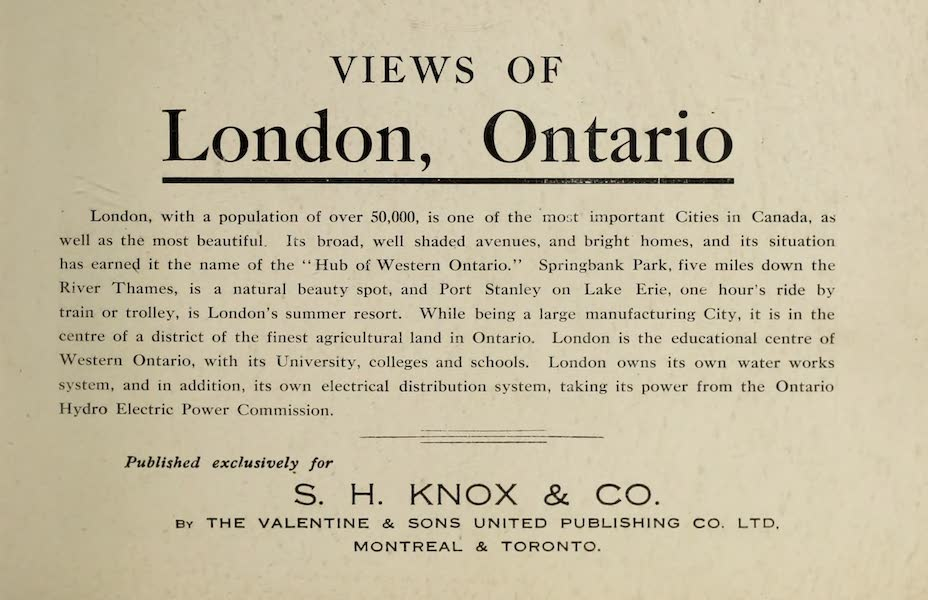 Views of London, Ontario - Title Page (1910)