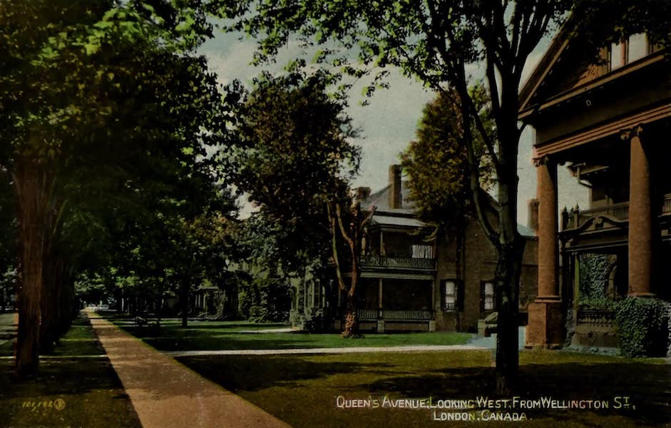 Views of London, Ontario - Queen's Avenue, looking West from Wellington St., London, Canada (1910)