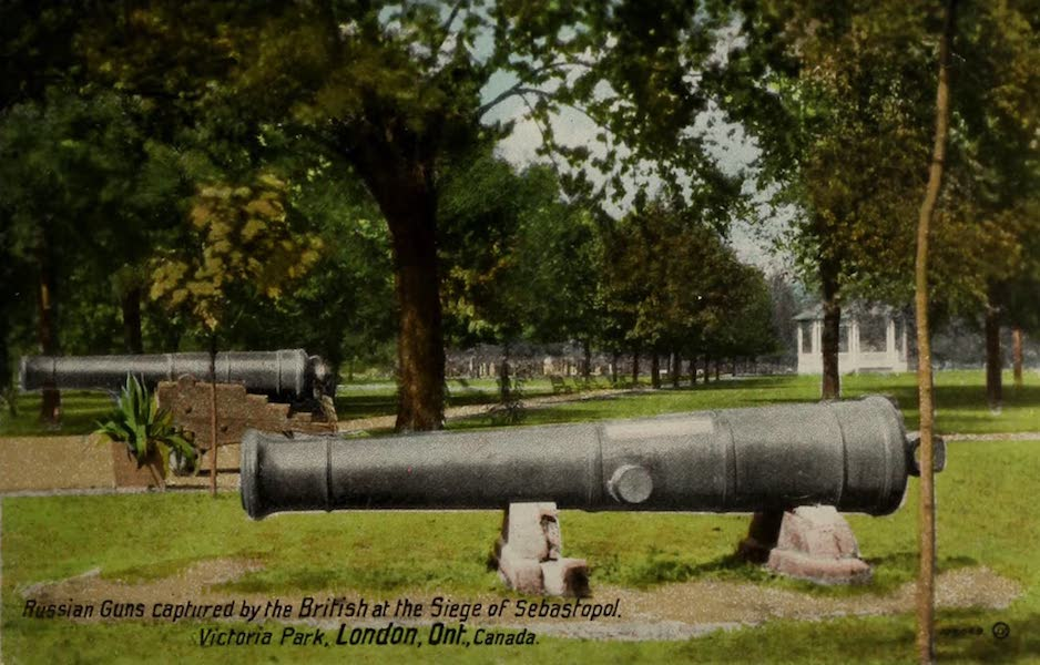 Views of London, Ontario - Russian Guns captured by the British at the Siege of Sebastopol, Victoria Park, London, Ont., Canada (1910)