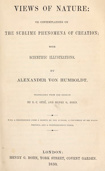 Views of Nature - Title Page (1850)