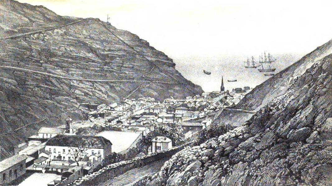 Views of St. Helena - View of James Town from the road leading to the Briars (1857)