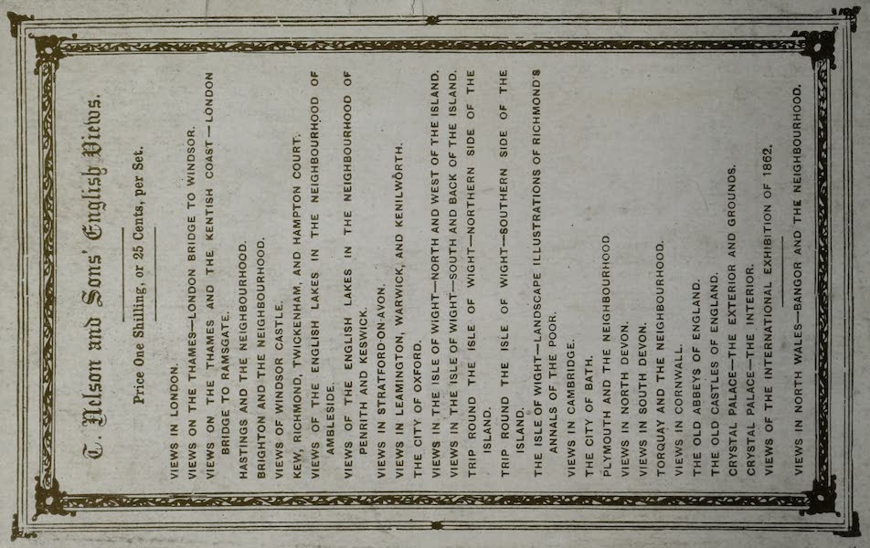 Views of the Dublin Exhibition - Back Cover (1865)