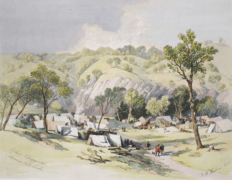 Views of the Gold Regions of Australia - Gold Diggers' Encampment (1851)