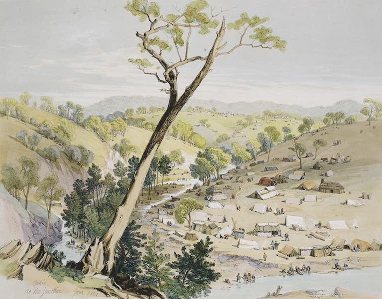 Views of the Gold Regions of Australia - Gold Diggers arriving at Bathurst on their way to Ophir (1851)