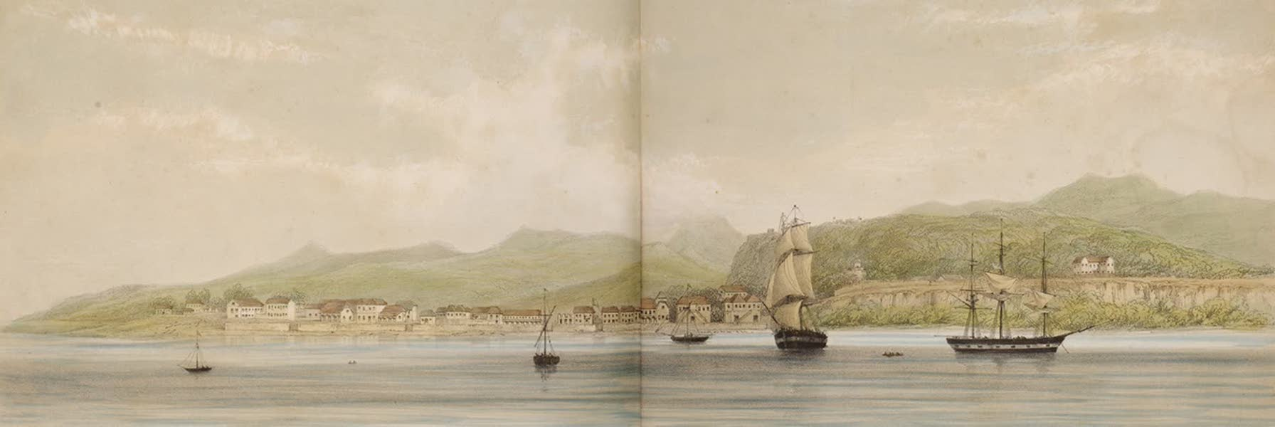 Views of the Island of Dominica - Roseau from the Sea (1849)