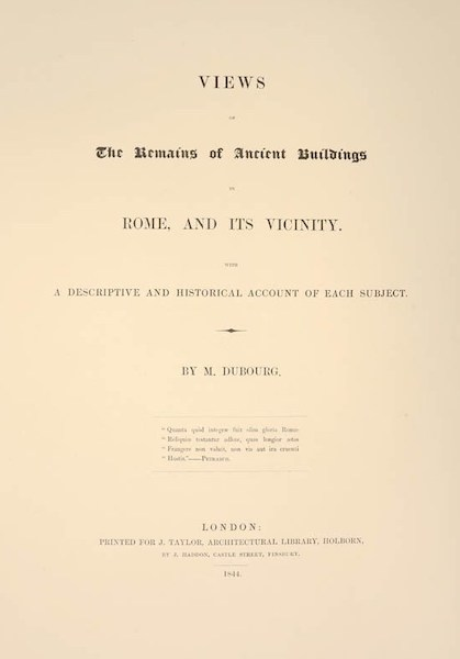 Views of the Remains of Ancient Buildings in Rome - Title Page (1844)