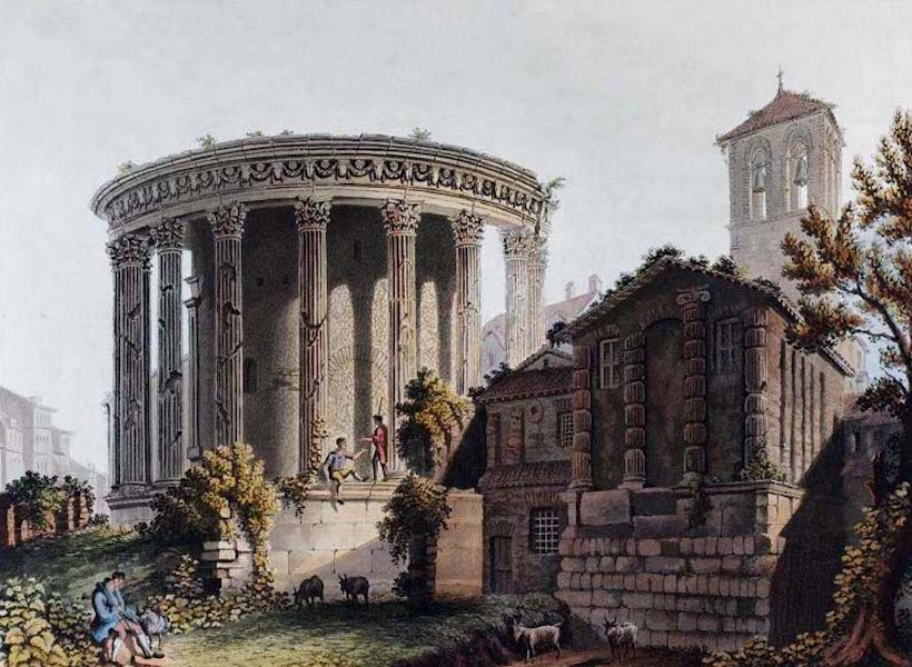 Views of the Remains of Ancient Buildings in Rome - Temple of Vesta at Tivoli (1844)