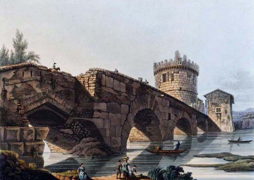 Views of the Remains of Ancient Buildings in Rome - Ponte Lugano (1844)
