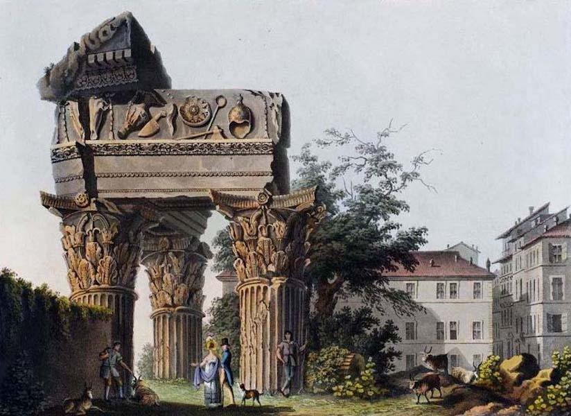 Views of the Remains of Ancient Buildings in Rome - Temple of Jupiter Tonans (1844)