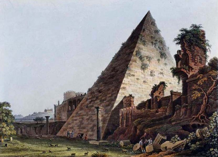 Views of the Remains of Ancient Buildings in Rome - Pyramid of Caius Cestius (1844)
