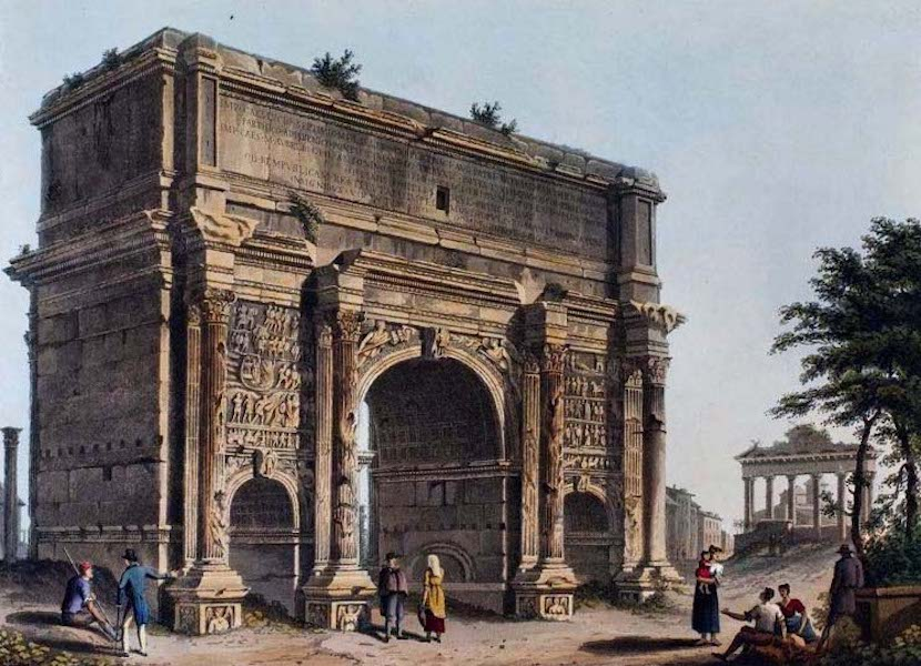 Views of the Remains of Ancient Buildings in Rome - Arch of Septimus Severus (1844)