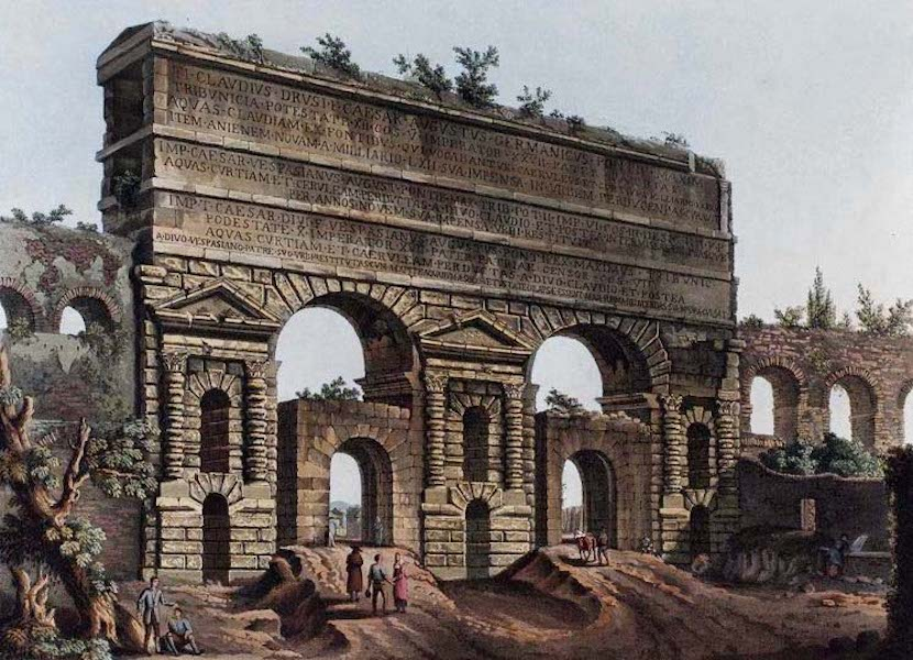 Views of the Remains of Ancient Buildings in Rome - Claudian Aqueduct (1844)