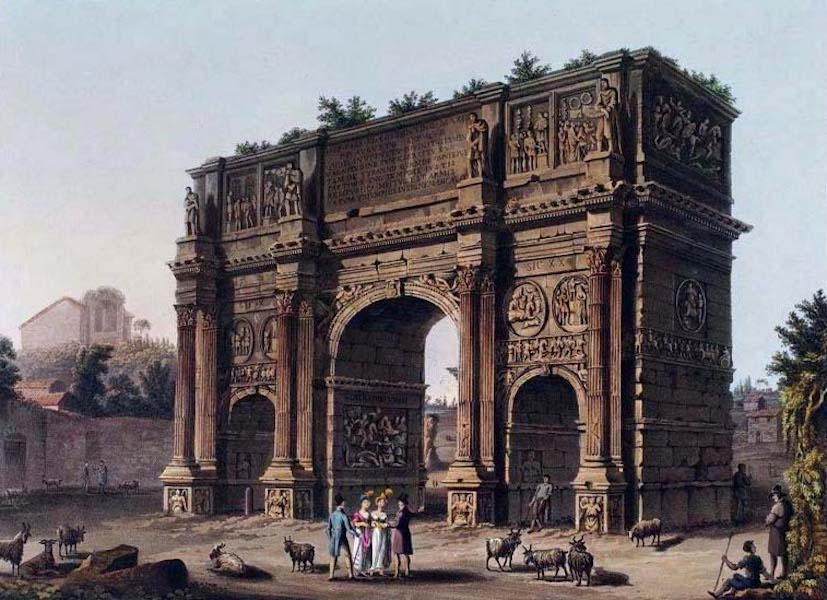 Views of the Remains of Ancient Buildings in Rome - Arch of Constantine (1844)