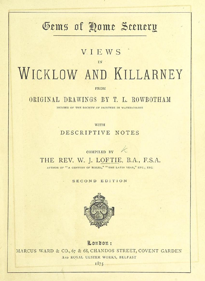 Views of Wicklow and Killarney - Title Page (1875)