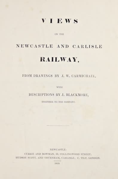 Views on the Newcastle and Carlisle Railway - Title Page (1839)