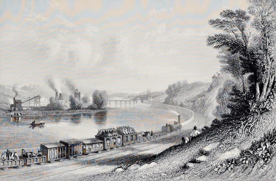 Views on the Newcastle and Carlisle Railway - The River Wall at Wylam Scars (1839)