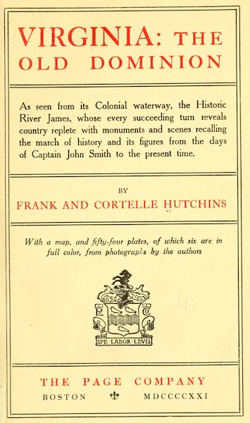 Virginia: the Old Dominion - Title Page (1921)