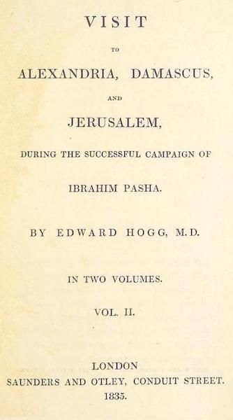 Visit to Alexandria, Damascus, and Jerusalem - Title Page - Volume 2 (1835)