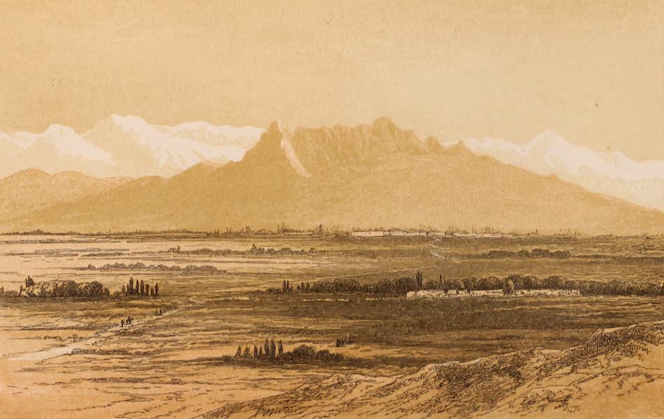 Visits to High Tartary, Yarkand, and Kashgar - View of Kashkar and the range of mountains which divides it from the Russian possessions (1871)