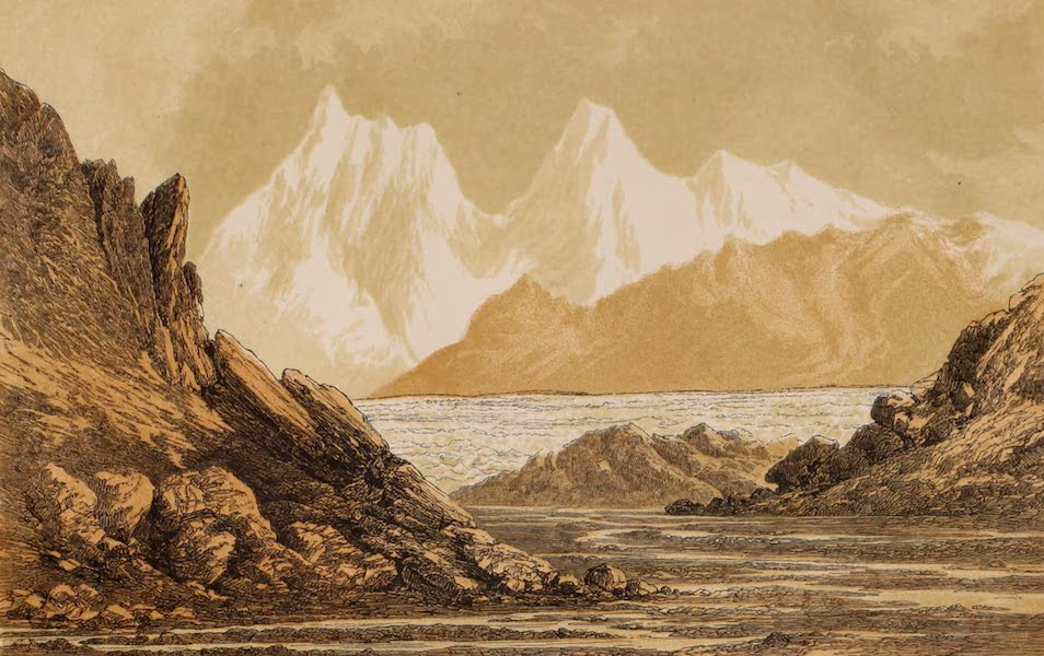 Visits to High Tartary, Yarkand, and Kashgar - Mer de Glace at the Source of the Shayok River in the Karakorum (1871)