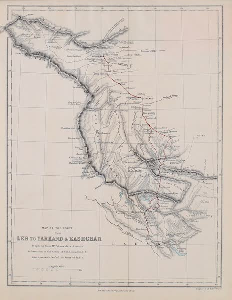 Visits to High Tartary, Yarkand, and Kashgar - Map of the Route from Leh to Yarkand and Kashgar (1871)