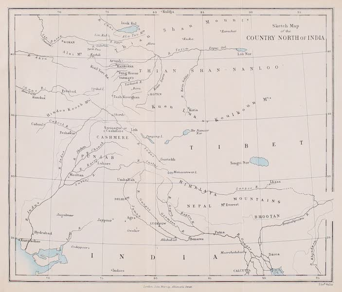 Visits to High Tartary, Yarkand, and Kashgar - Sketch Map of the Country North of India (1871)