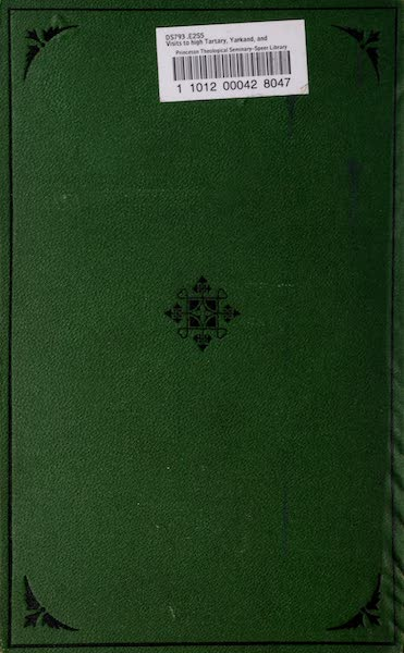 Visits to High Tartary, Yarkand, and Kashgar - Back Cover (1871)