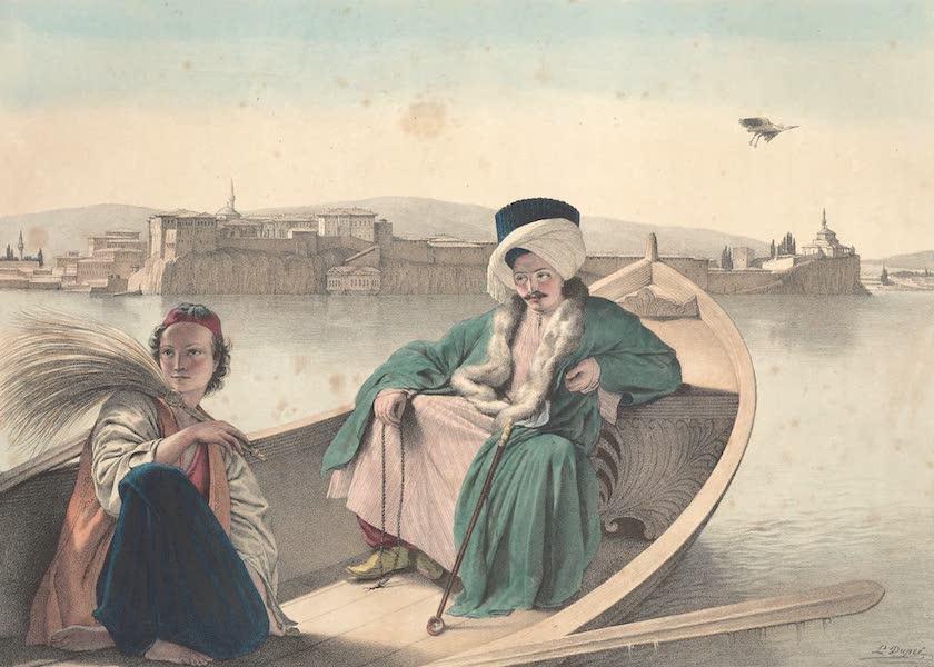 Voyage a Athenes et a Constantinopole - Le Palais et la Forteresse de Janina, vus du Lac Un Turc et un jeune Grec (1825)