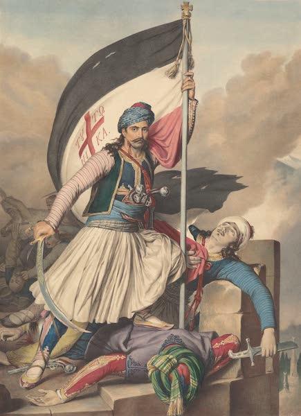 Voyage a Athenes et a Constantinopole - Nicolacki Mitropolos arborant l'etendard de la Croix a Salona, le jour de Paques 1821 (1825)