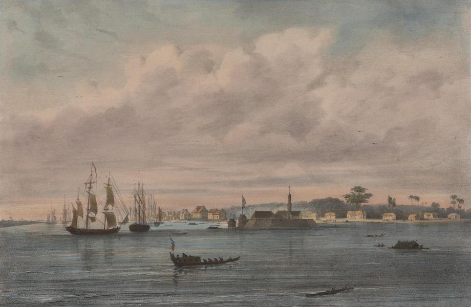Voyage a Surinam - Vue du port et de la ville de Paramaribo et de la forteresse Zelandia (1839)