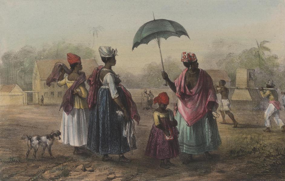 Voyage a Surinam - L'Hopital civil et militaire; un malade qu'on porte a l'hopital; negresses et creoles esclaves en grand costume (1839)