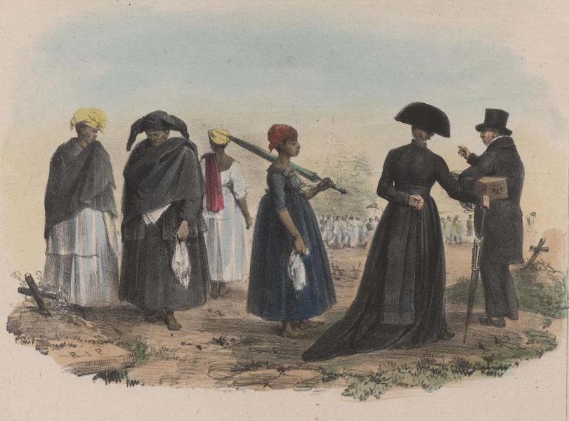 Voyage a Surinam - Vue du Cimetiere d'Orange a Paramaribo, hors la ville. Le cure, le fossoyeur nomme Krips, [et les esclaves] ... en deuil; dans le fond un convoi funebre (1839)