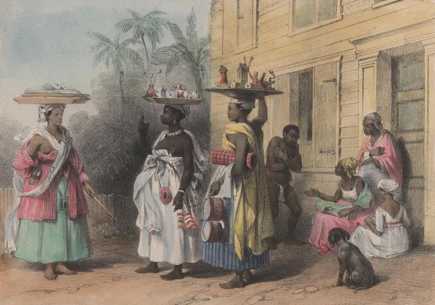 Voyage a Surinam - Trois marchandes a la toilette ou revendeuses, creole, negresse-creole et cabougle ou africaine; dans le fond, de petites marchandes de gateaux (1839)