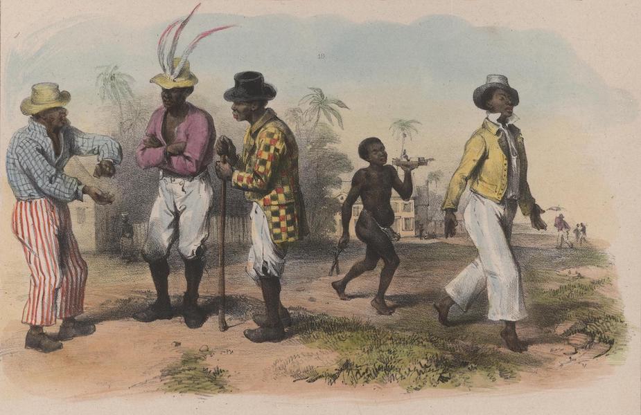 Voyage a Surinam - Trois artisans negres affranchis faisant la conversation (1839)