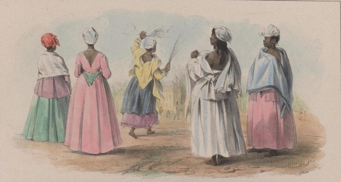 Voyage a Surinam - Cinq femmes esclaves se rendant a leur eglise un jour de fete (1839)