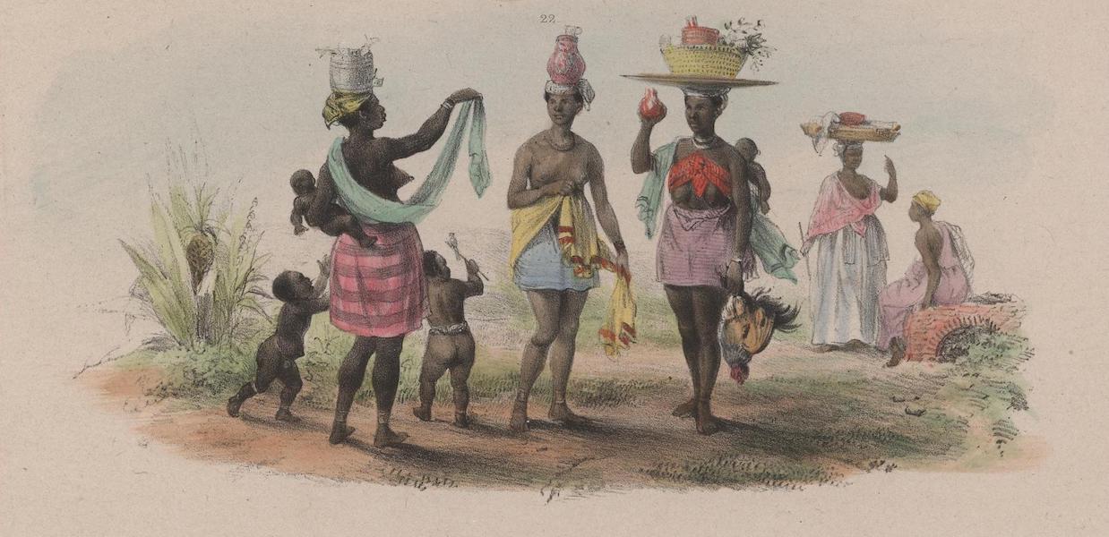 Voyage a Surinam - A gauche, une marchande de kabbeljaauw ou morue, a droite, une verduriere; au milieu, une jeune creole laitiere; dans le fond, une revendeuse (1839)
