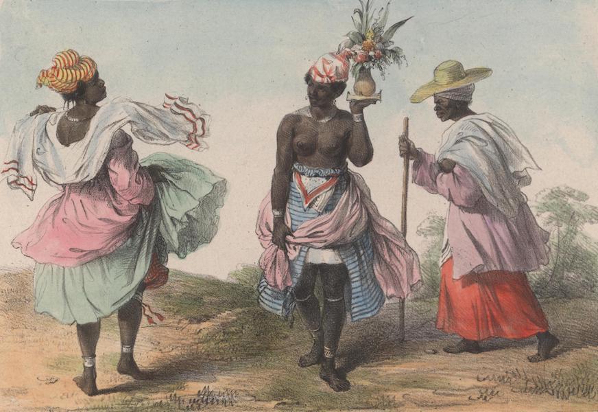 Voyage a Surinam - Une jeune negresse esclave, portant un bouquet pour une fete; a gauche, un missie ou menagere en grand costume; a droite, une vieille missie (1839)